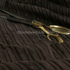 Furnishing Upholstery Fabric High Low Soft Velvet Textured Cord Chocolate Colour