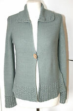 Principles UK16 EU44 new green ribbon knit cardigan with collar & single button
