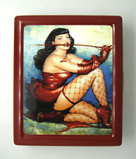 Pin Up Girl D 3 Small Red Cigarette Case Card Holder Dame Mistress Sexy Tempress