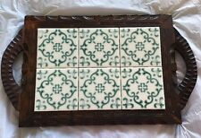 Vintage Carved Wood Mexican Ceramic Tile Serving Tray Cutting Cheese Board