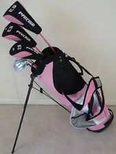 NEW Ladies Golf Club Set Driver Wood Hybrid Irons Putter Stand Bag PINK Womens