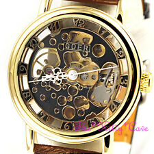 Mechanical Skeleton Heritage Steampunk Gold & Brown Leather Wind-Up Unisex Watch