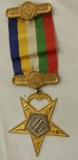 Vintage Masonic Order of Eastern Star O E S pin medal ribbon badge bar smile sun
