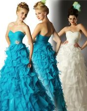 NWT Mac Duggal 6854H prom pageant quinceanera ruffle dress 8 ocean blue