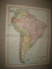 HUGE FOLIO SIZE ANTIQUE 1898 SOUTH AMERICA MAP BRAZIL PATAGONIA ARGENTINA PERU N