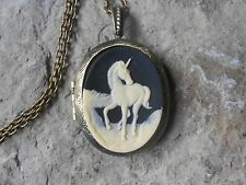 UNICORN CAMEO LOCKET - CREAM/BLACK - ANTIQUE BRONZE, VINTAGE LK, UNIQUE