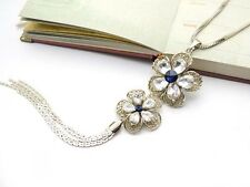ConMiGo London Women's Sparkling flower 'pendant' with a blue diamond necklace