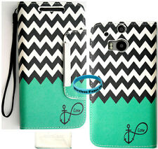 Teal Block Anchor Infinty Chevron Wallet Purse PU Leather Case For HTC One M8