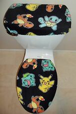 POKEMON Pikachu Fleece Fabric Toilet Seat Cover Set Bathroom Accessories