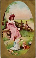 Mother & Two Children by Lake 1911 Gilded Chromo Postcard Used