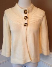Michael Kors Xs Ivory 3/4 Sleeve Shrug, Poncho, 3 Button Cardigan Sweater