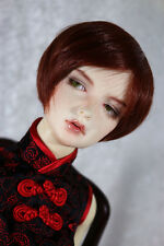 "1/4 7-8"" BJD DOLL WIG MSD BROWNISH RED SHORT BOB LUTS DOLLFIE JR21 USA LOC"