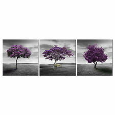 Framed Canvas Art Print Abstract Poster Photo Home Décor Landscape Purple Trees