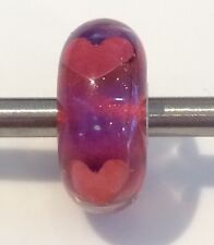 Authentic Trollbeads Be My Valentine Glass Bead 62904 HTF Retired Copper Hearts