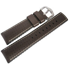 20mm Hirsch Performance Tiger Perforated Brown Leather Rubber Watch Band Strap