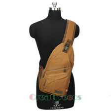 Men Canvas Travel Hiking Cross Body Messenger Shoulder Back pack Sling Chest Bag
