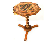 Octagon-shaped Olive wood chess board table+32 chess pieces/Table Échiquier