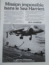4/1983 PUB BRITISH AEROSPACE SEA HARRIER V/STOL ROYAL NAVY ORIGINAL FRENCH AD