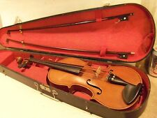 VERY OLD NICE VINTAGE ANTIQUE VIOLIN,FULL SIZE,NICE WOOD COFFIN CASE,2 BOWS