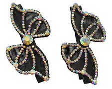 AL0035 - Eye catching black bow with colourful sequin hair slids - 2 pieces