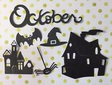 6 Die Cut Sizzix Halloween shapes HAUNTED HOUSES WITCH HAT, SPIDER, BAT, OCTOBER