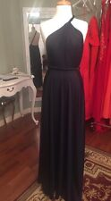 Khloe Kardashian Abyss by Abby One Shoulder Draped Gown Vamp Dress Size S NEW