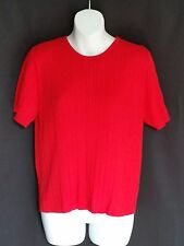 Pendleton Red Short Sleeve Round Neck Cable Knit Sweater Sz M #N405