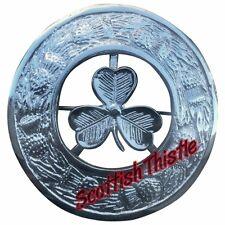 "Men's  Irish Shamrock Fly Plaid Brooch Chrome Finish 3""/Scottish Kilt Fly Plaid"