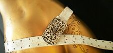 GUESS Belt White Genuine Leather Studded Rhinestones Old Style Sz S