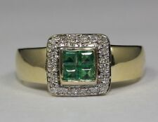 14k Yellow Gold Princess Cut Green Emerald and White Round Diamond Ring Size 7.5