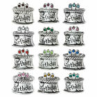 Sterling Silver Birthday Cake with CZ Crystals Bead for European Charm Bracelets