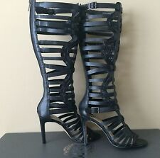 NEW VINCE CAMUTO KASE SEXY KNEE STILETTO GLADIATOR BOOTS SHOES BLACK LEATHER 6M