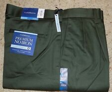 34 X 34 CROFT & BARROW PLEATED FRONT PREMIUM NO IRON KHAKIS- OLIVE- NWT