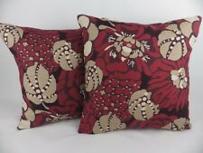 """2 x 17"""" Romo Manderley Red Wine Floral Linen Scatter Pillow Linen Cushion Covers"""