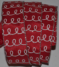 Wired Ribbon~Christmas Silver Swirl~Holiday Red~White~Wreath~Gift~Craft~Bow