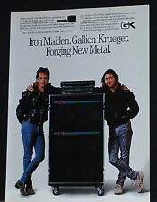 1988 Adrian Smith + Dave Murray of Iron Maiden and Gallien Krueger amp print Ad