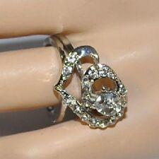 2 RINGE Love Liebe Herz VINTAGE STRASS Heart Ring Amour silber-farbig Y011 NEU