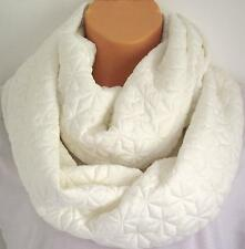 The Beautiful Snowflake Quilted Winter White Circle Loop Infinity Scarf Snood