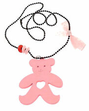 Kids Jewellery Pink long black ball chain necklace large wooden teddy pendant