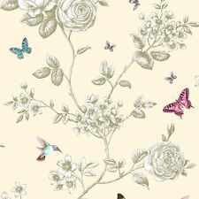 New Grandeco - Rose Garden Cream - Bird & Butterfly - Floral Wallpaper - A14601
