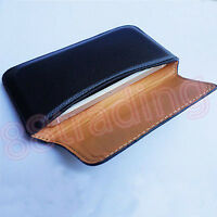 Horizontal Leather Waist Carry Case with Belt Hole for Large Size Mobile Phone