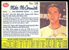 1962 POST CANADIAN BASEBALL 139 MIKE MCMORMICK EX+ S F SAN FRANCISCO GIANTS
