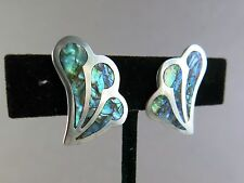 Sterling Silver Earrings Mexico Inlaid Abalone 6.1g Screw Back [2050]