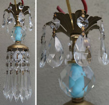 1of5 Vintage cut crystal Blue Brass hanging lamp chandelier Icicle glass prisms