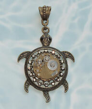 SEA TURTLE STEAM PUNK WATCH FAIRY  GEAR CLOCK PENDANT NECKLACE VICTORIAN COSTUME