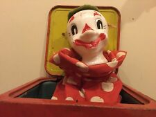 Vintage 1950 Mattel Musical Clown Jack in the Box Toy.