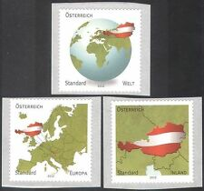Austria 2012 Maps/National Flags/Europe/World 3v set s/a (n42520)