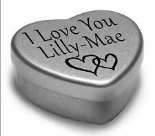 I Love You Lilly-Mae Mini Heart Tin Gift For I Heart Lilly-Mae With Chocolates