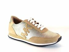 Michael Kors Stanton Trainer Pale Gold Leather Athletic Sneaker Shoe Size 8.5
