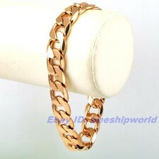 "3pcs Wholesale 7.7""12mm30g REAL MEN 18K ROSE GOLD GP CURB BRACELET SOLID CHAIN"